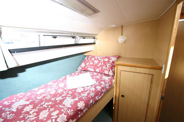 Port side cabin on the Limerick Class hire boat.