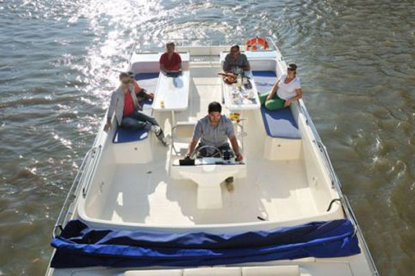 Sundeck on the Vision 3 hire boat.