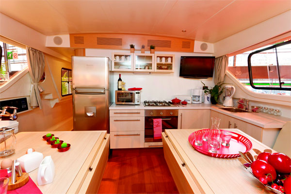 Galley on the Vision Hire Boat