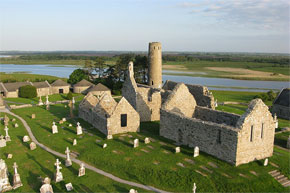 Aerial view of the ancient monastic settlement at Clonmacnoise