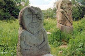 The famous Boa Island Figures on Lough Erne.