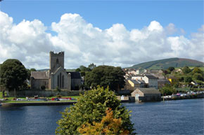 Boat moored at the cathedral in Killaloe