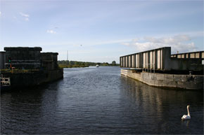 The swing bridge open at Portumna on the Shannon River